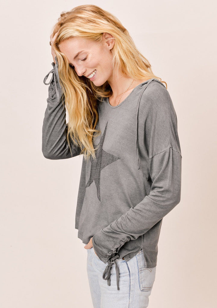 [Color: Charcoal] Lovestitch vintage wash, charcoal, long sleeve hoodie with studded star detail with lace-up wrist detail