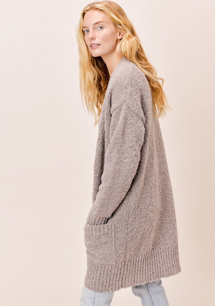 [Color: Stone] Lovestitch cozy oversized, stone boyfriend cardigan