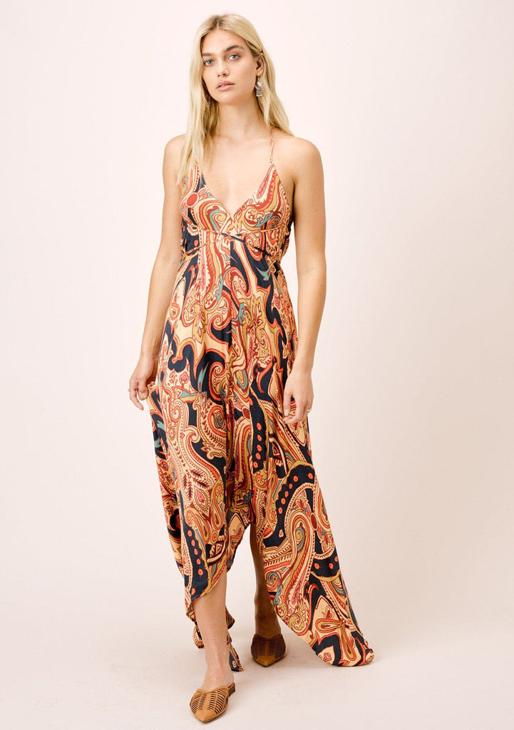[Color: Sand/Spice] Geo paisley printed, backless maxi.