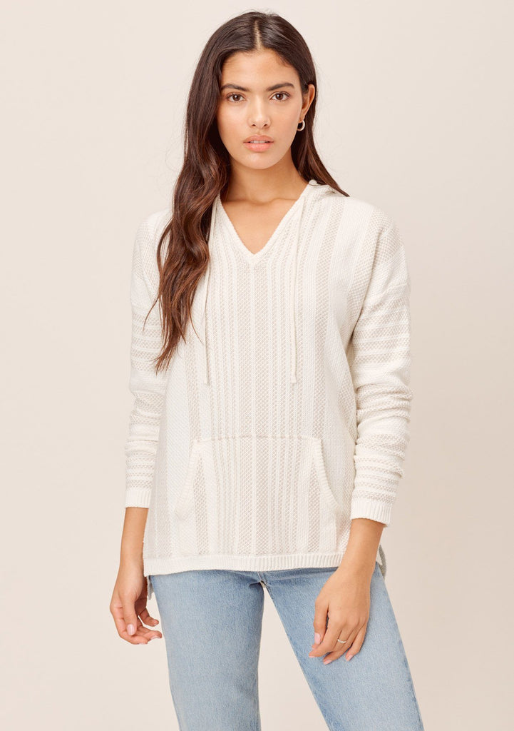 [Color: OffWhite/Taupe] Lovestitch lightweight flattering beach hoodie - 100% cotton yard-dye striped boho beach sweater