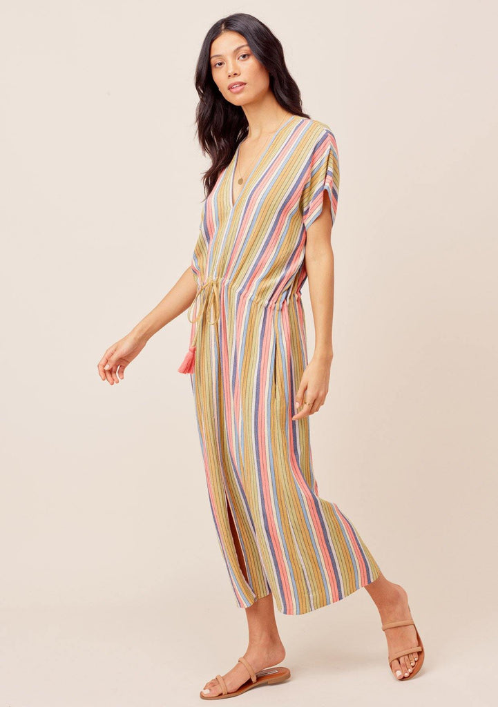 [Color: Multi] Lovestitch multi Multicolor striped, V-neck, drawstring tie-waist midi dress. Perfect for the beach!