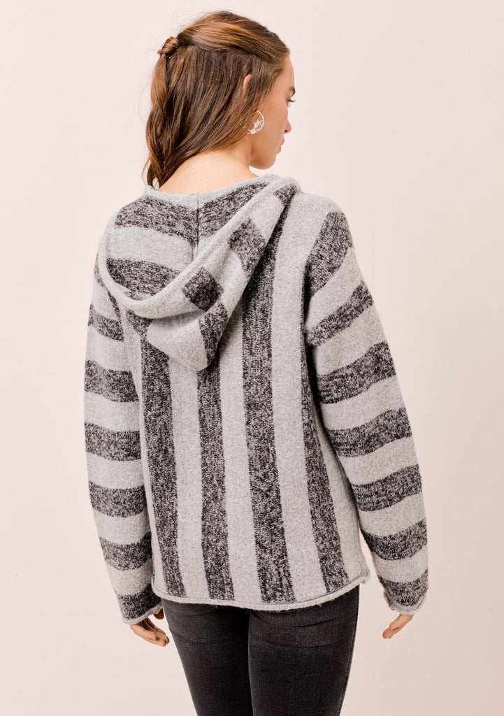 [Color: HeatherCharcoal/Grey] Lovestitch grey Long sleeve, striped pullover with hood and kangaroo pocket.