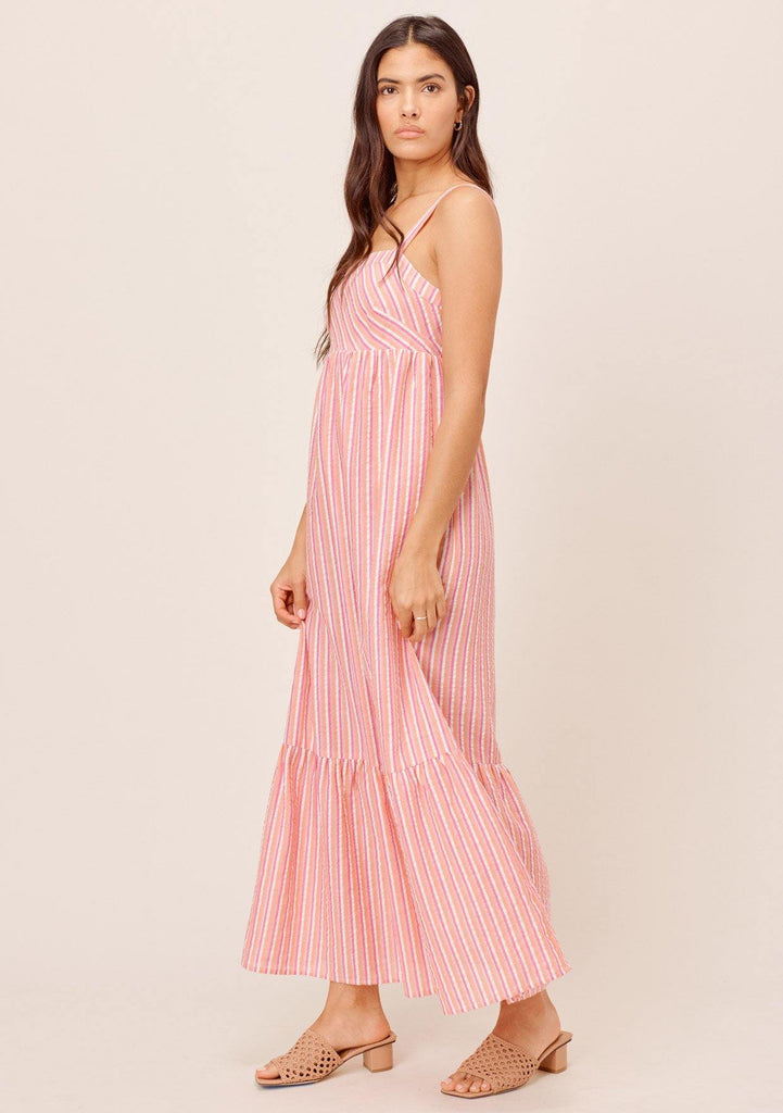 [Color: Coral Multi] Lovestitch coral/multi yarn dye striped maxi dress with ruffled hem and metallic details.