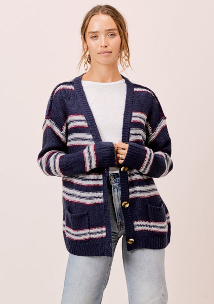Sadie Striped Boyfriend Cardigan