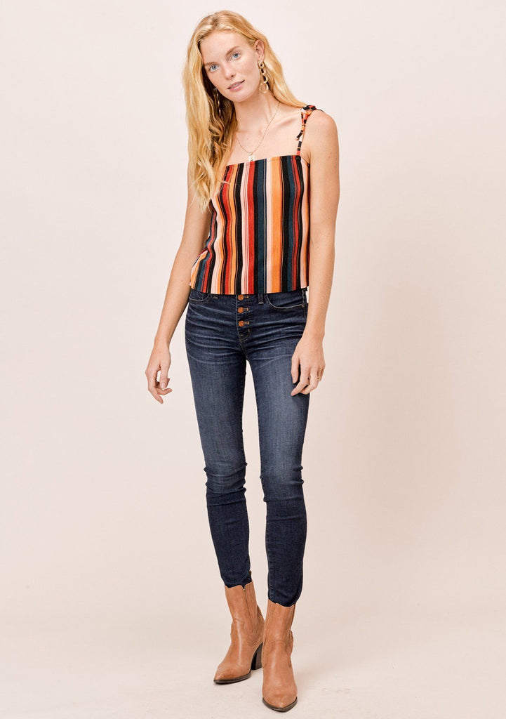[Color: Black/Spice/Teal] Lovestitch Multi Color Striped Pleated Retro style cami with tie shoulders