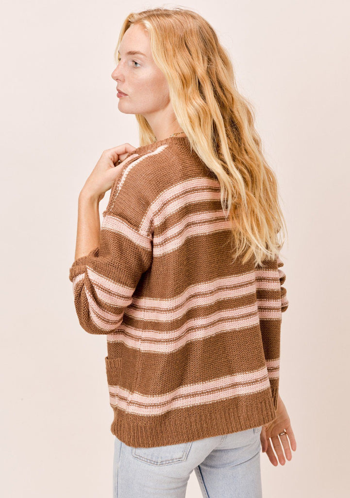 [Color: Mocha/Blush] Lovestitch Button Front Striped Cardigan