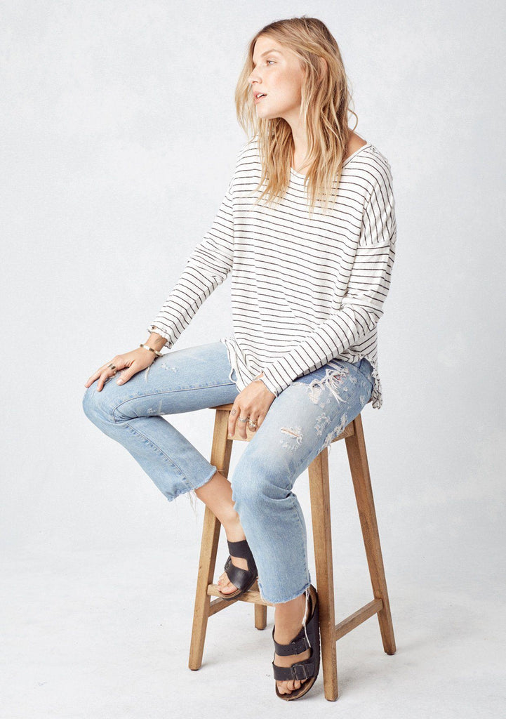 [Color: Ivory/Black] Lovestitch striped, long sleeve distressed top