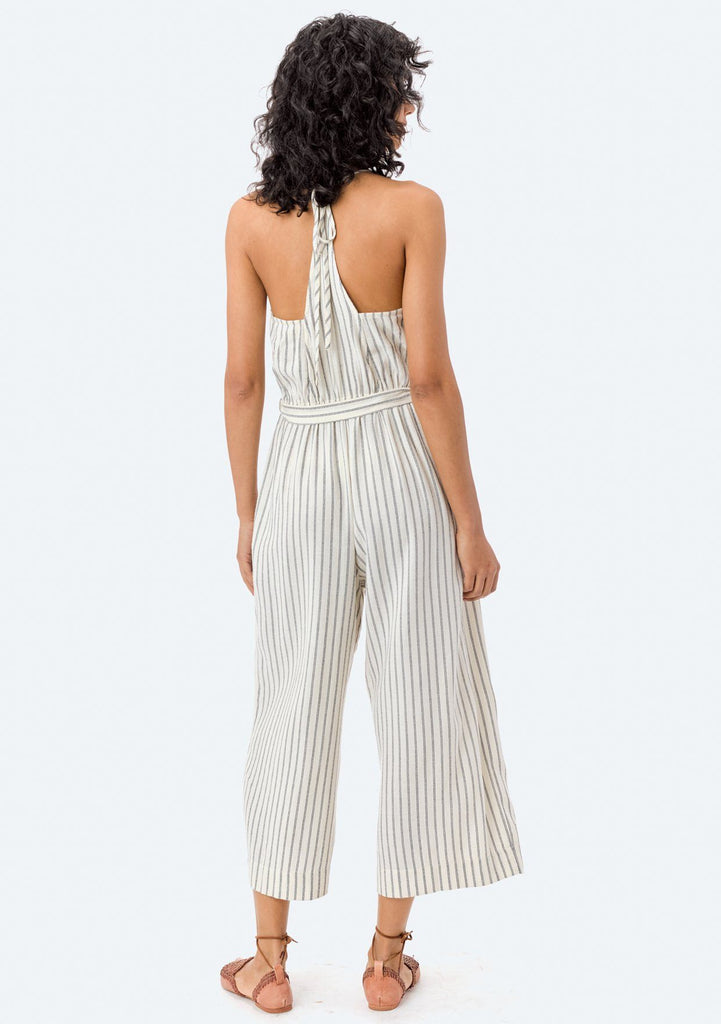 [Color: Natural/Black] Lovestitch sleeveless, black & white striped, wide-leg jumpsuit with tie-front belt.