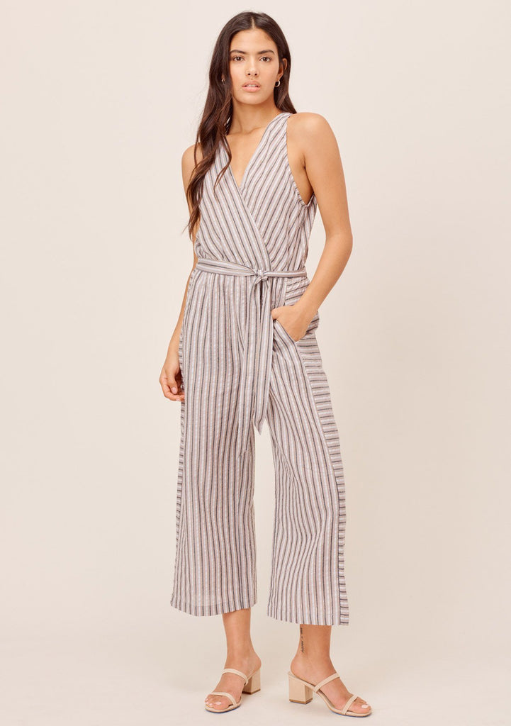 [Color: Grey Multi] Lovestitch Grey/Multi Metallic Striped jumpsuit with wide legs and open back detail