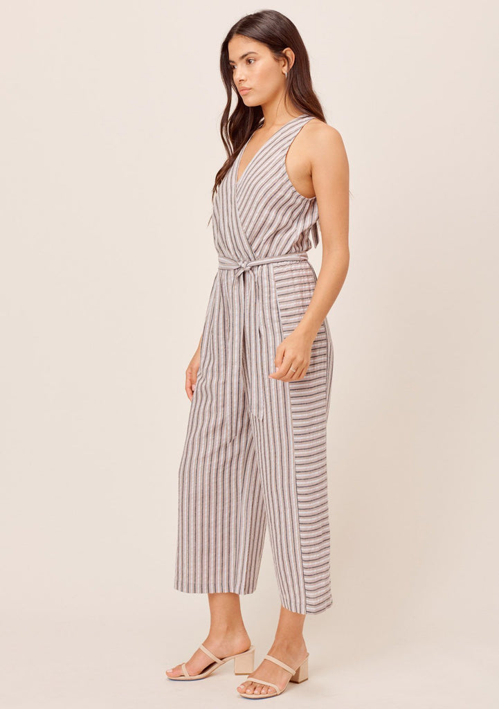 [Color: Taupe/White] Lovestitch lightweight, striped jumpsuit with tie at the waist.