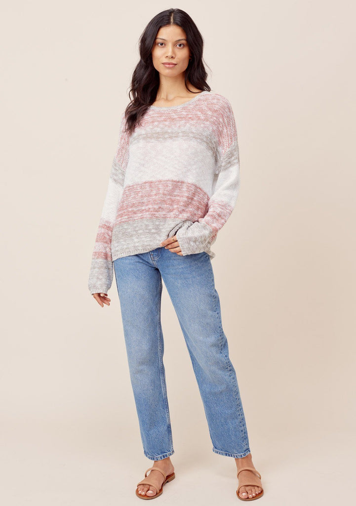 [Color: White/Rust/Taupe] Lovestitch White/Rust/Taupe lightweight, striped knit crewneck pullover
