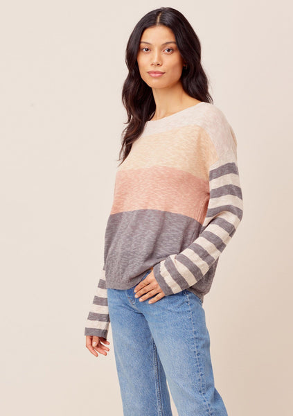 Teddi Striped Sleeve Knit Pullover