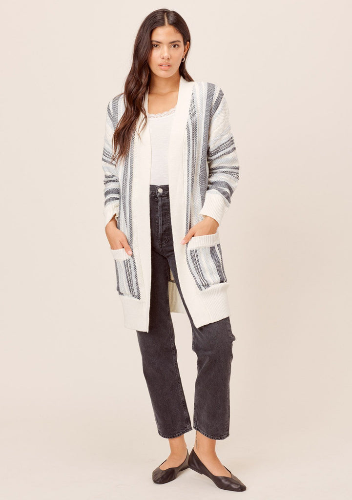 [Color: Blue Combo] Lovestitch blue combo Long sleeve, open front, chunky striped cardigan with side pockets and contrast rib detail.