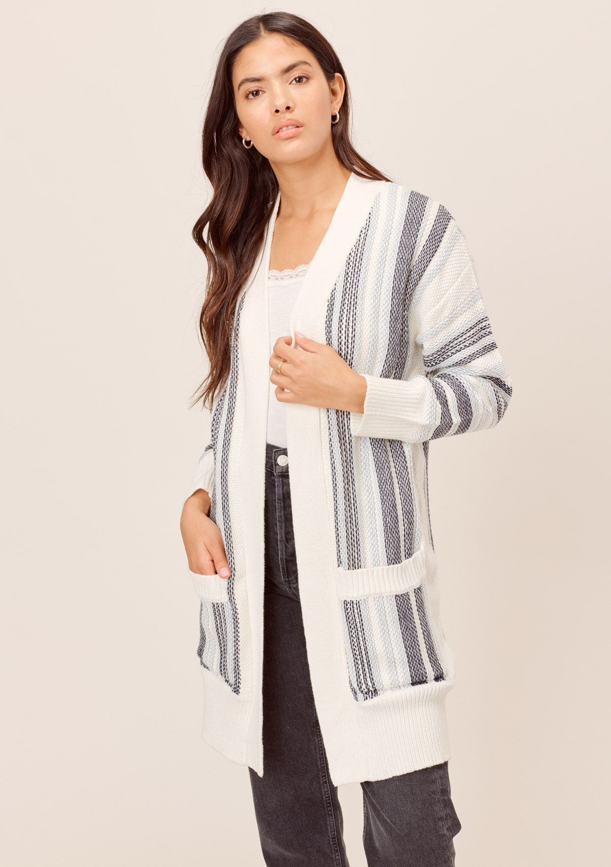 [Color: Blue Combo] Lovestitch Total beach vibes! Chunky, striped mid-length cardigan with deep side pockets and chic contrast rib detail. The perfect cardigan for chilly beach days!