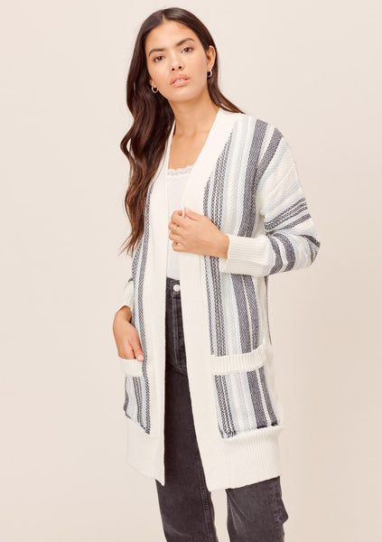 Diem Striped Open Cardigan