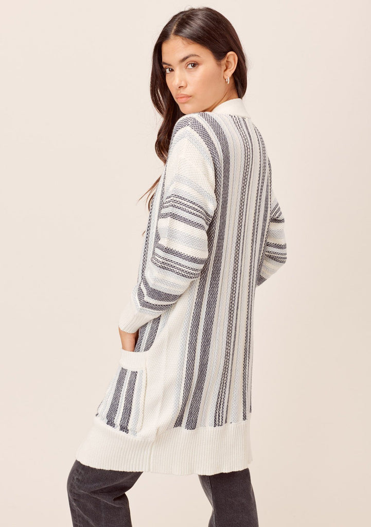 [Color: Blue Combo] Lovestitch Total beach vibes! Chunky, striped mid-length cardigan with deep side pockets and chic contrast rib detail- light blue, white and black stripes. The perfect cardigan for chilly beach days!