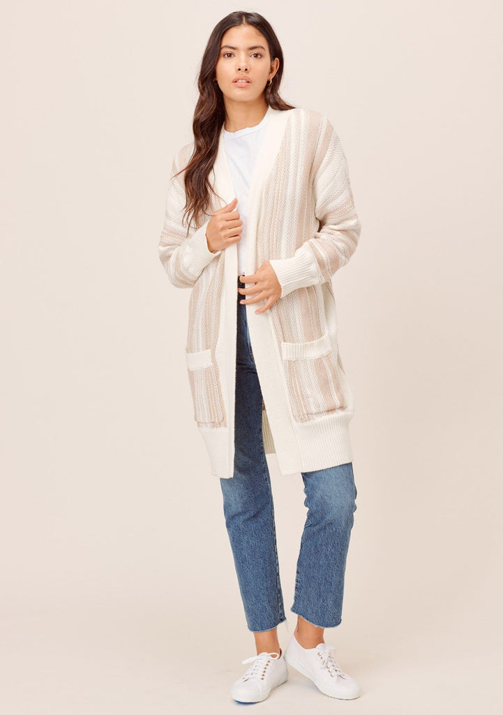 [Color: Taupe Combo] Lovestitch taupe beach vibes cardigan sweater! Chunky, striped mid-length cardigan with deep side pockets and chic contrast rib detail. The perfect cardigan for chilly beach days!