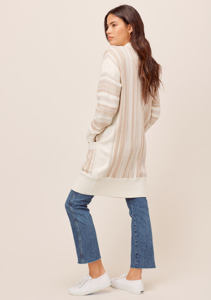 [Color: Taupe Combo] Lovestitch taupe combo Long sleeve, open front, chunky striped cardigan with side pockets and contrast rib detail.