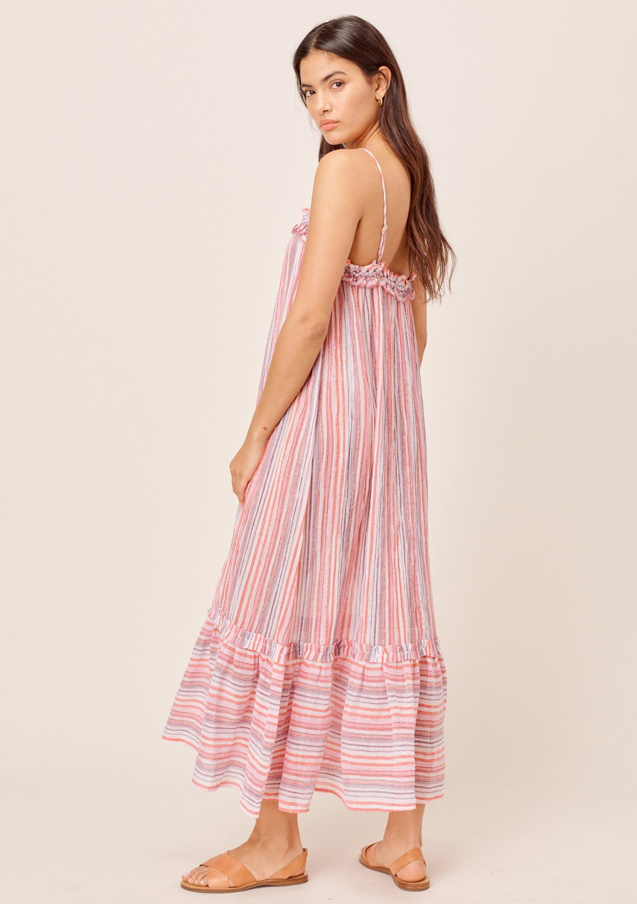 [Color: Multi Pink] Lovestitch multi pink Crinkle cotton, yarn dye striped beach dress with metallic thread, ruffled detail and tiered bottom.