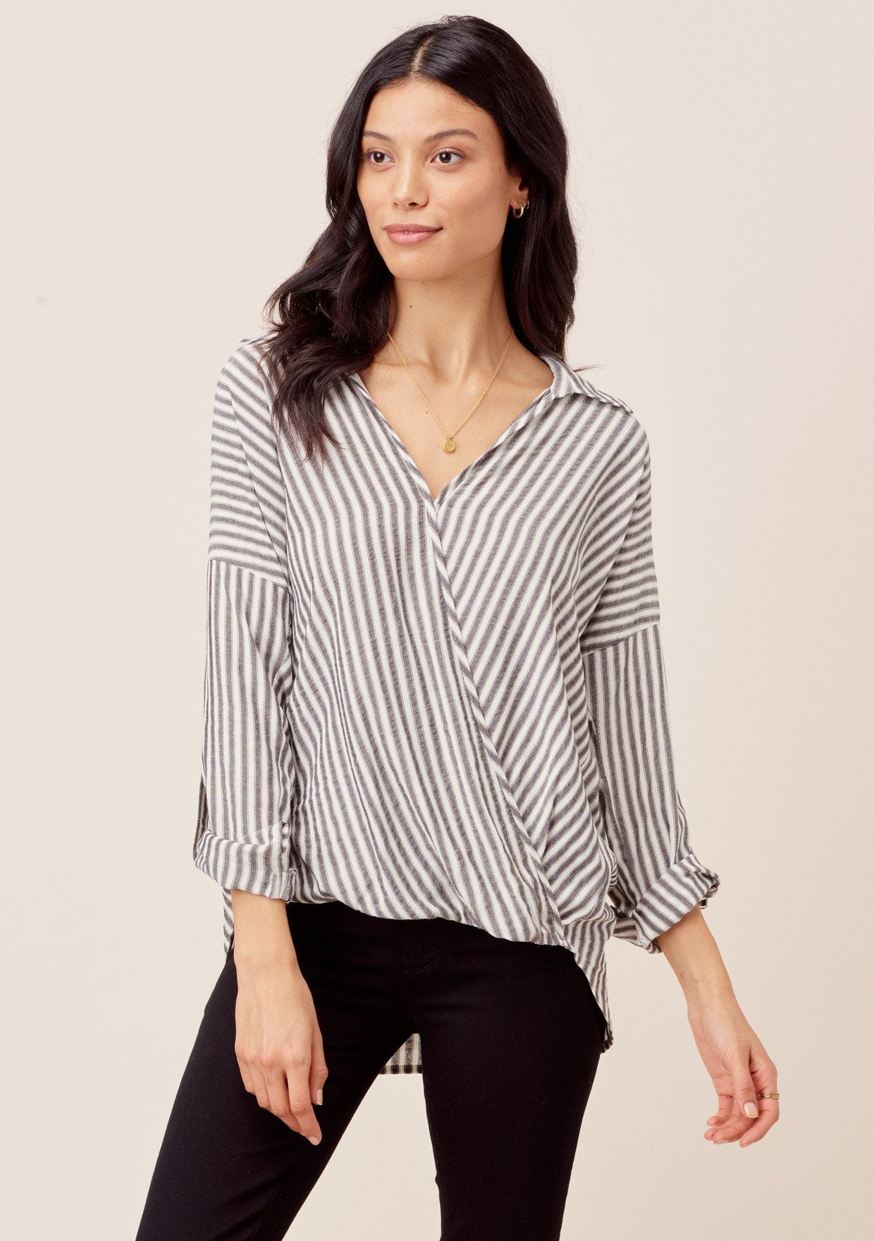 [Color: Black/Gold] Lovestitch Metallic striped, long roll tab sleeve, surplice top with high-low hem.