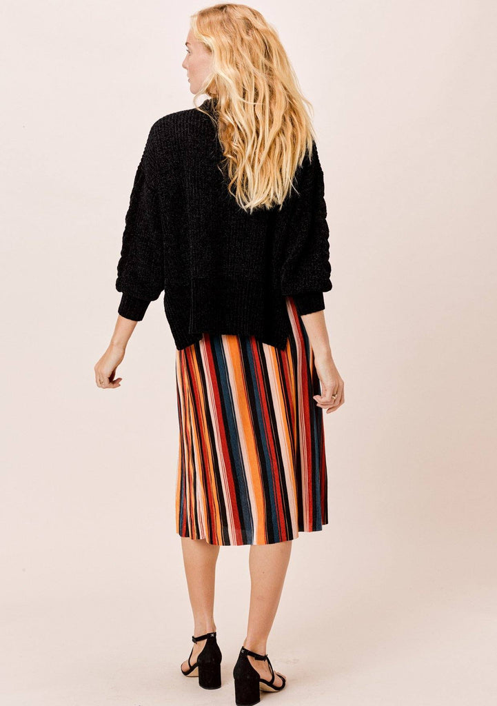 [Color: Black/Spice/Teal] Lovestitch Multi Color Striped Pleated Retro style Midi Skirt with front slit