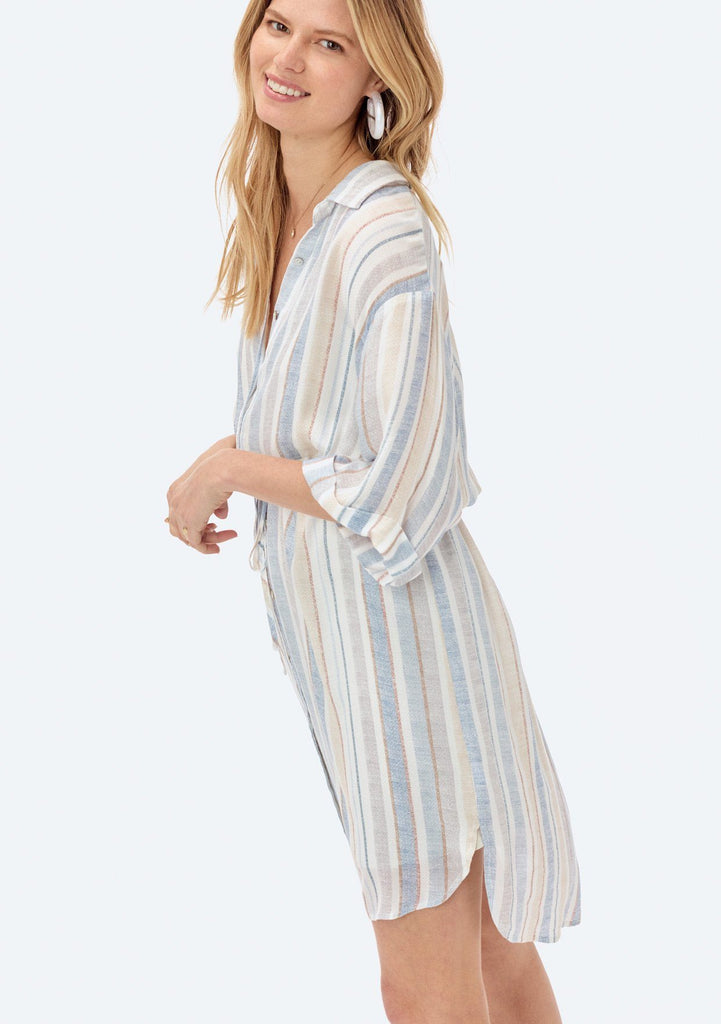 [Color: Navy/Tan] Lovestitch lightweight, striped shirt dress