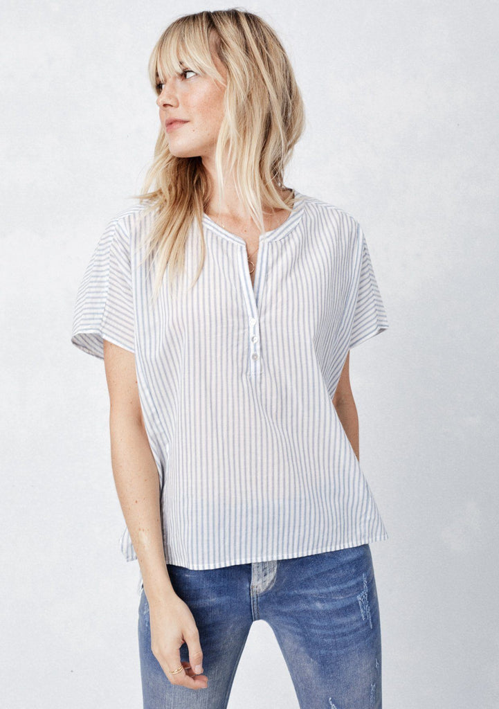 [Color: Natural/Denim] Lovestitch striped, kimono sleeve blouse with subtle high-low hem with front button detail.