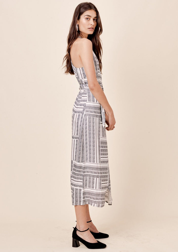 [Color: Black Stripe] Lovestitch striped, racerback, wrap dress with side tie closure.
