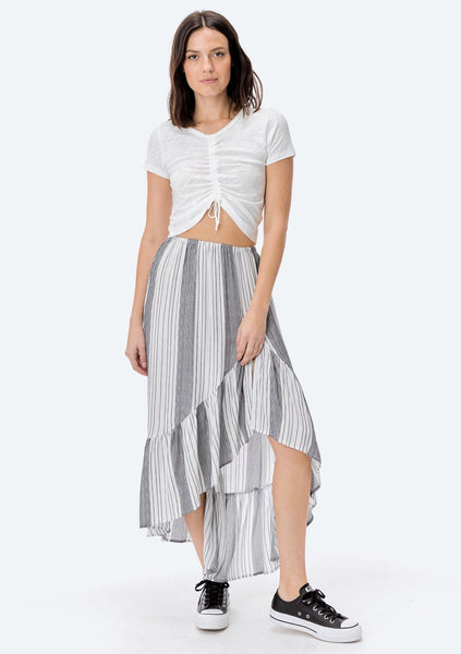 Emery Striped Ruffle Skirt