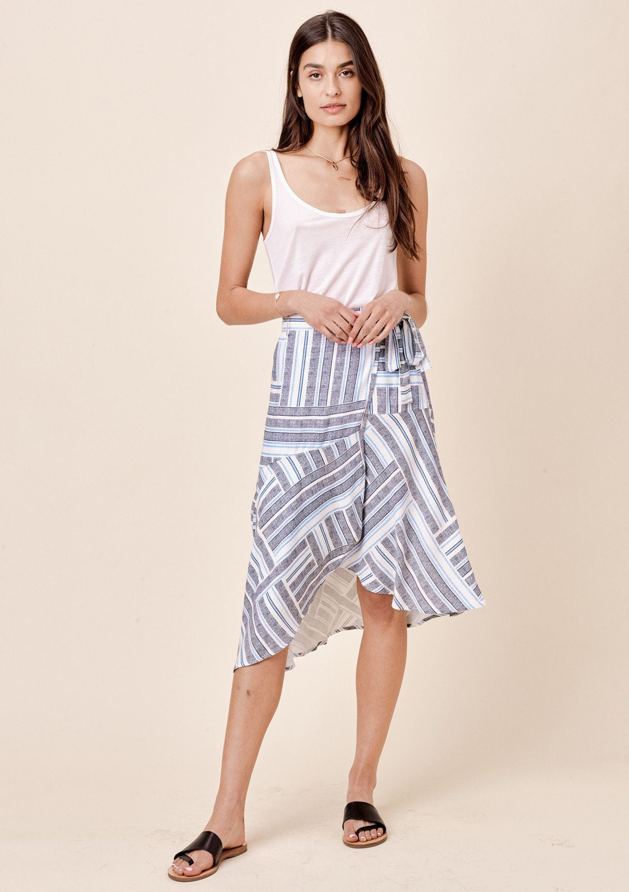 [Color: Navy Stripe] Lovestitch multi-striped wrap skirt with side tie closure.