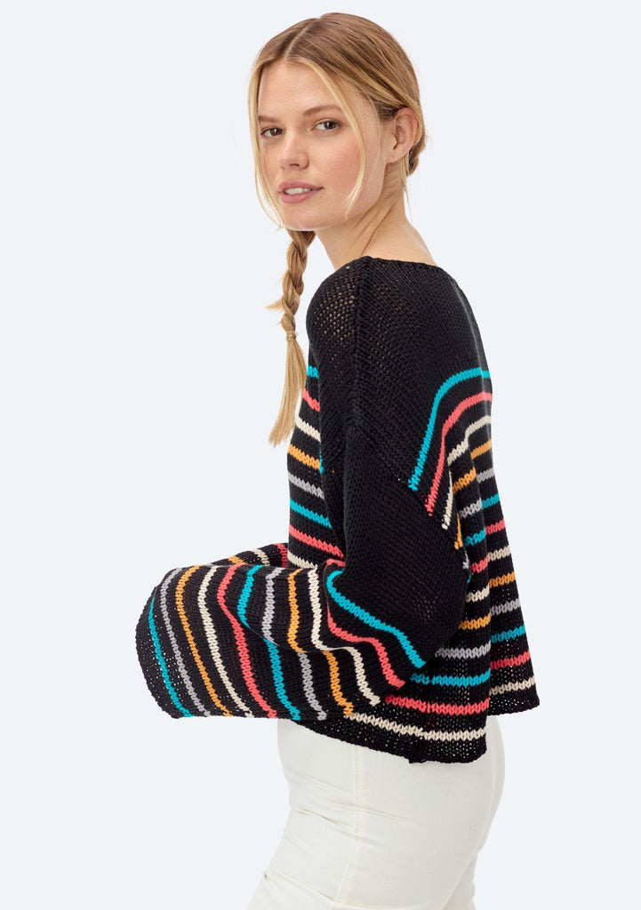 [Color: Black/Aqua/Orange] Lovestitch black long sleeve, multi-color striped, relaxed fit, cropped knit sweater.
