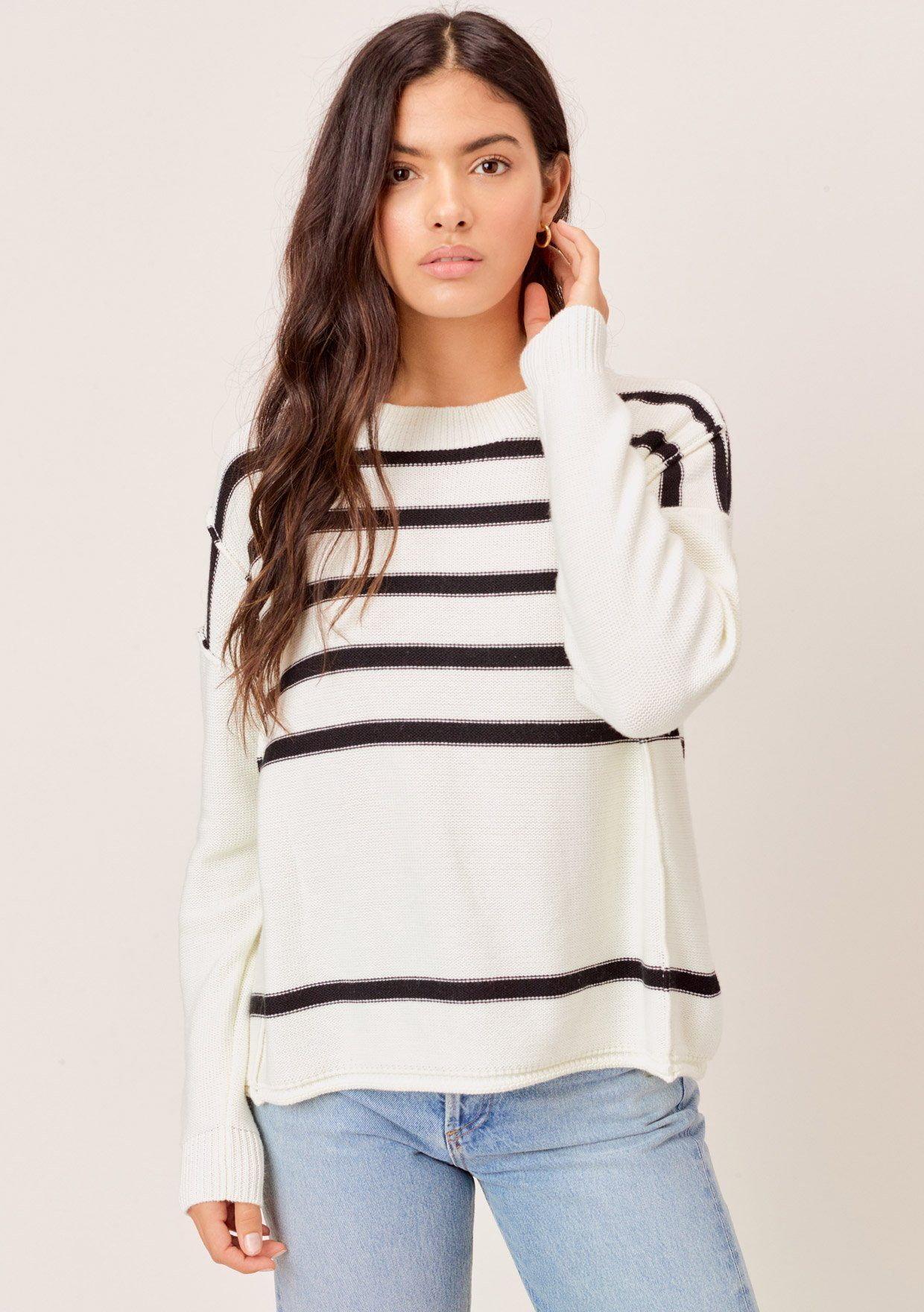 [Color: OffWhite/Black] Lovestitch offwhite/black lightweight, crew neck, striped knit sweater.