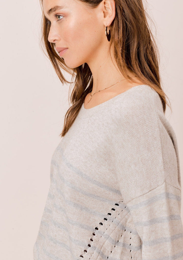 [Color: HeatherStone/Grey] Lovestitch heatherstone/grey Long sleeve, striped, crew neck sweater with distressed detail on the sides.