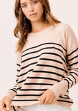 [Color: DirtyPink/Black] Lovestitch dirtypink/black Long sleeve, striped, crew neck sweater with distressed detail on the sides.