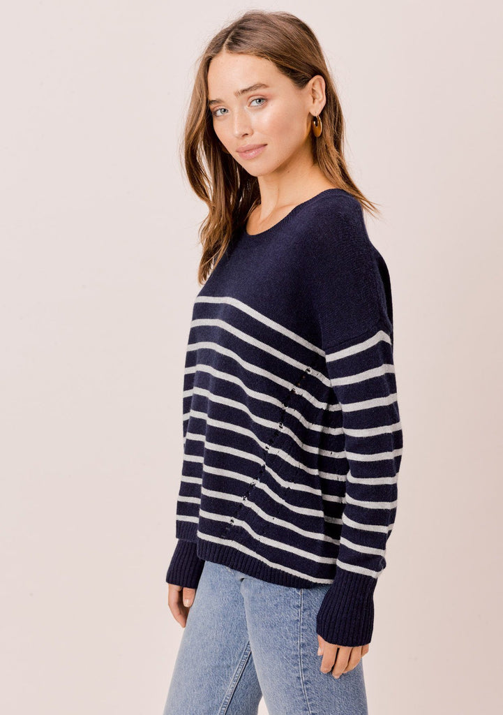 [Color: Navy/Silver] Lovestitch navy/silver Long sleeve, striped, crew neck sweater with distressed detail on the sides.