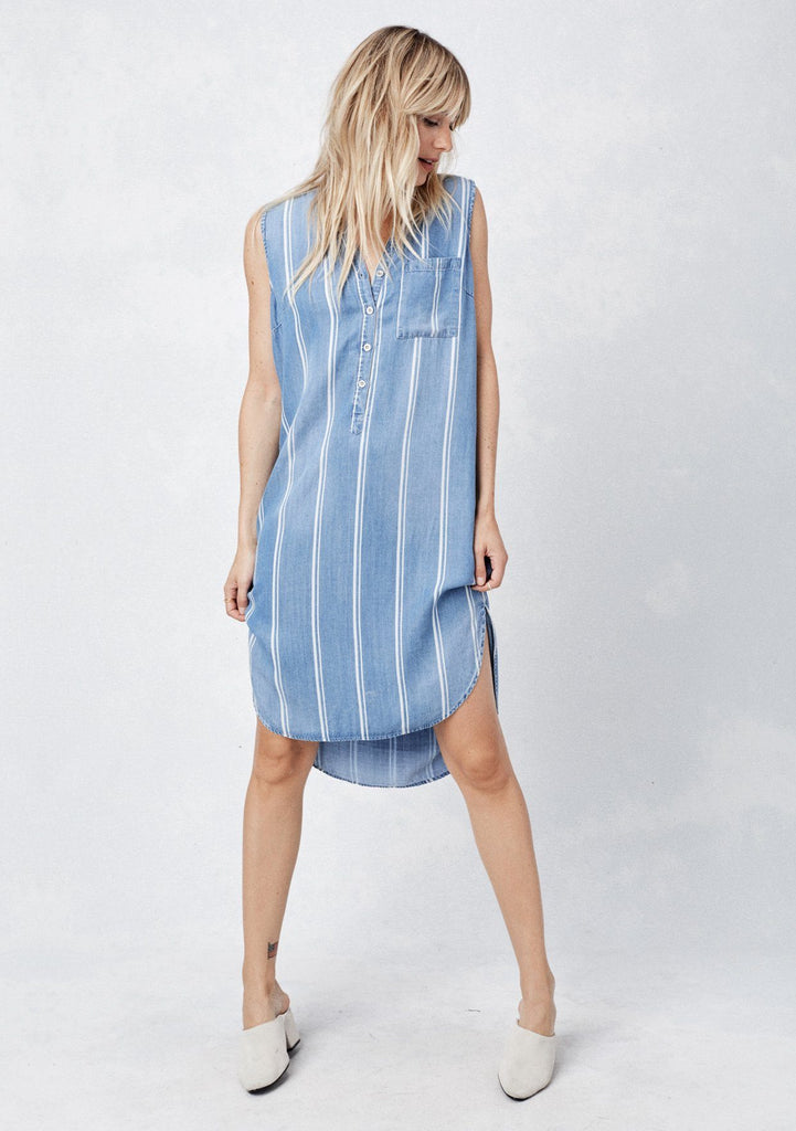 [Color: Blue/White Stripe] Lovestitch Blue mid-length shirt dress with button front v-neckline, white stripe details and high-low hem. Cute and flattering sleeveless summer midi dress