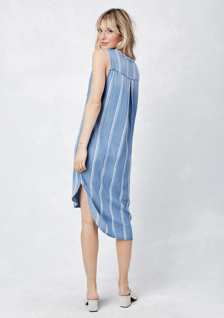 [Color: Blue/White Stripe] Lovestitch Blue & White striped, sleeveless, buttondown tencel shirt midi dress with shirt tail hemline.