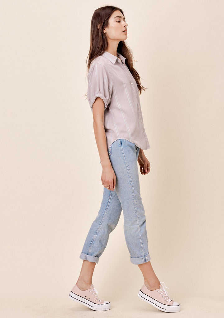 [Color: Grey] Lovestitch light grey, short sleeve, striped tencel, rolled cuff buttondown top.