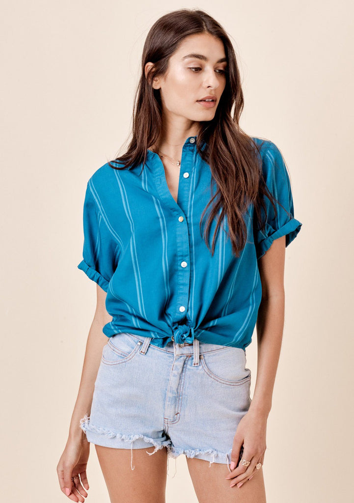 [Color: Marina] Lovestitch marina blue, short sleeve, striped tencel, rolled cuff buttondown top.