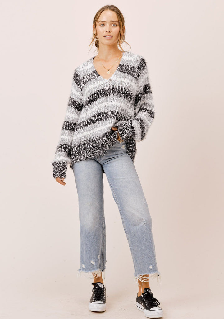 [Color: Black/White/Dove] Lovestitch black/white/dove striped, V-neckline sweater