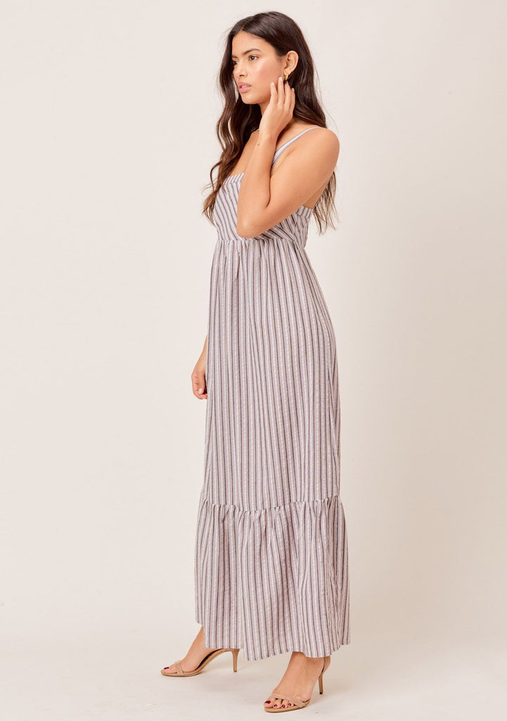 [Color: Grey Multi] Lovestitch grey/multi yarn dye striped maxi dress with ruffled hem and metallic details.