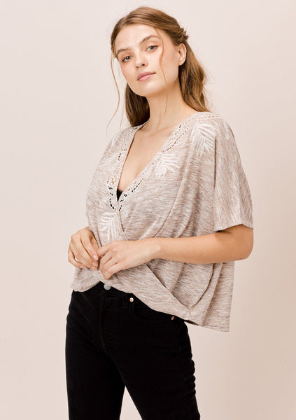Ashley Embroidered Surplice Top