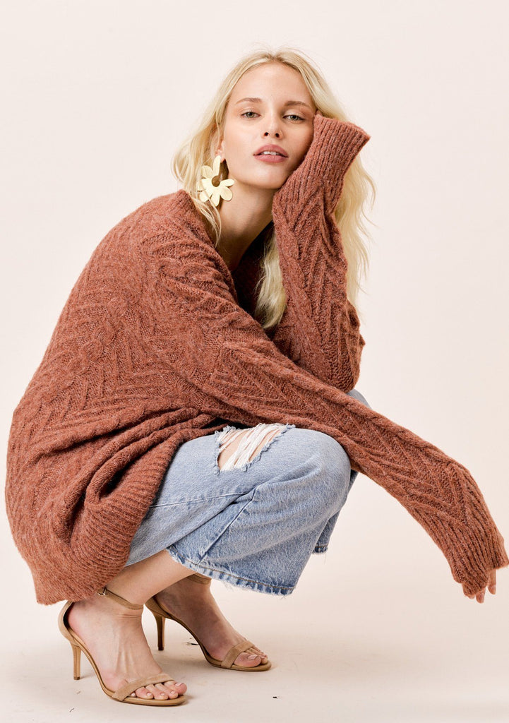 [Color: Burnt Orange] Lovestitch burnt orange, relaxed fit, oversized long sleeve sweater.