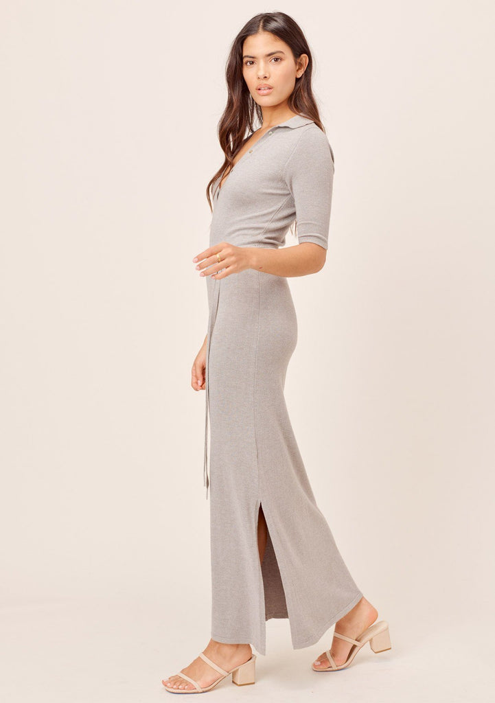 [Color: Grey] Lovestitch grey slim fit, pullover maxi sweater dress with side slits & self tie belt.