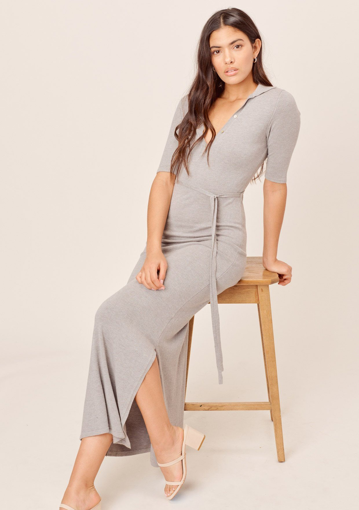 [Color: Grey] Grey maxi dress, fitted and knit with a v-neckline
