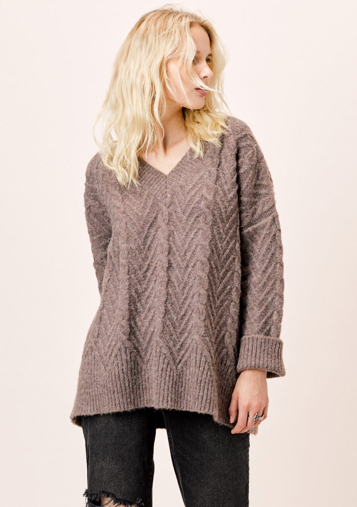 [Color: Mushroom] Lovestitch mushroom, relaxed fit, oversized long sleeve sweater.