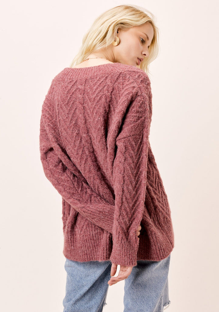 [Color: Vintage Rose] Lovestitch vintage rose, relaxed fit, oversized long sleeve sweater.