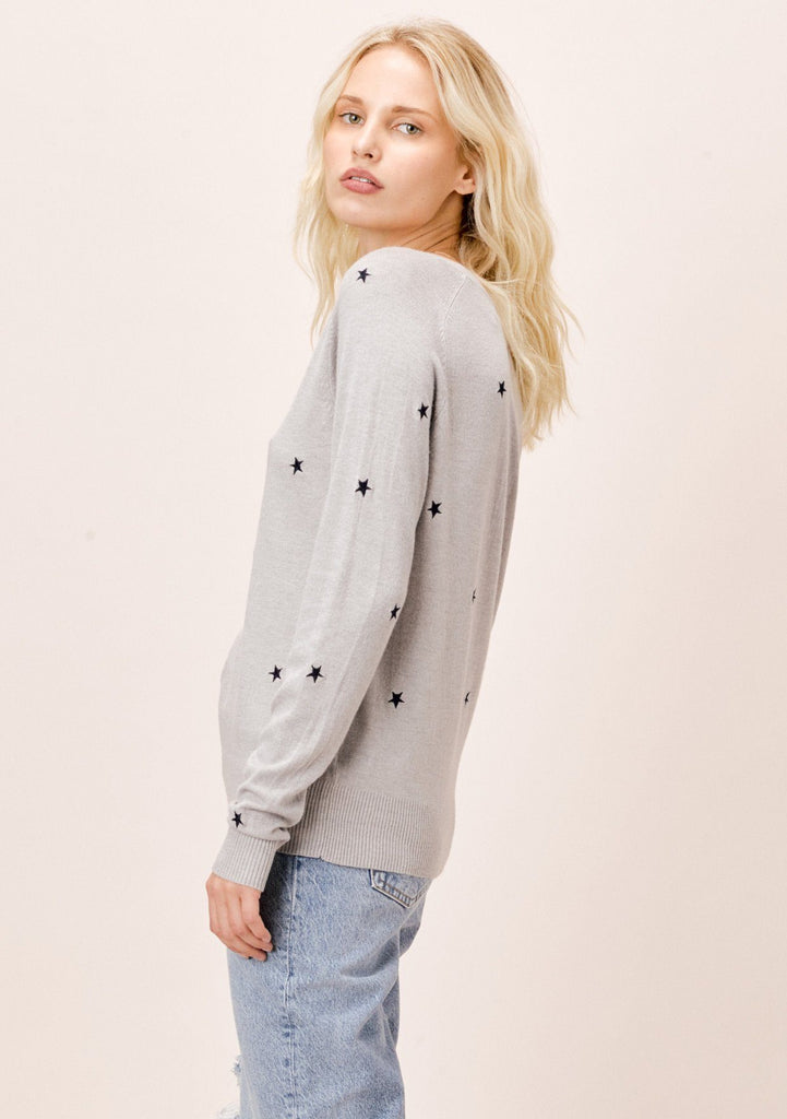 [Color: LightHeatherGrey/Navy] Lovestitch Star Embroidered Sweater