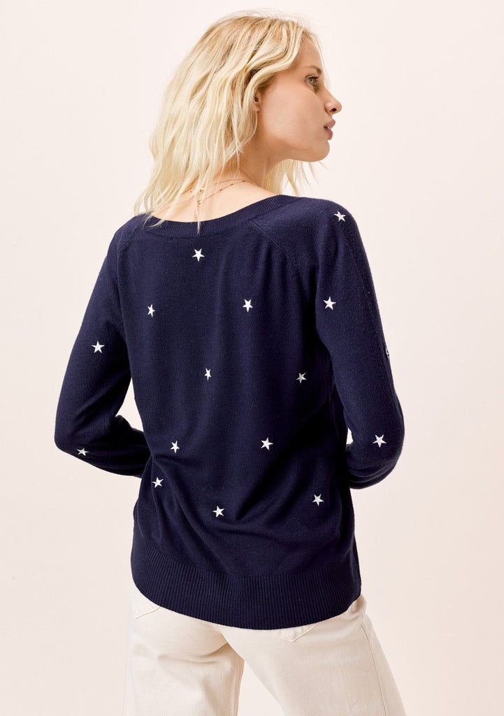[Color: Navy/Ivory] Lovestitch Star Embroidered Sweater