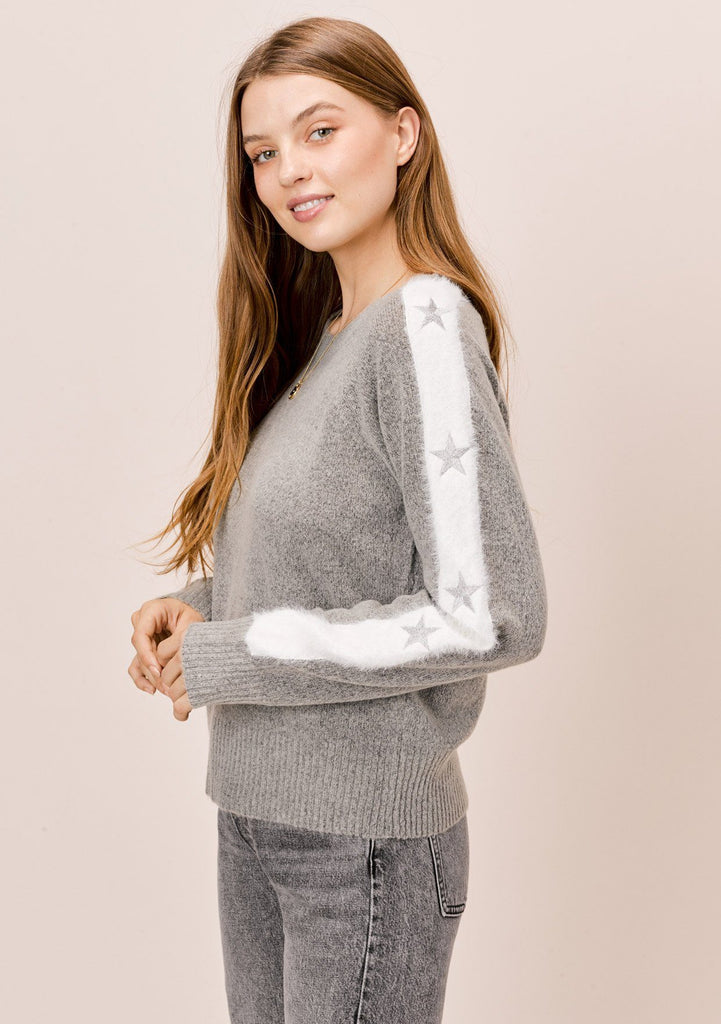 [Color: Grey/Silver] Lovestitch grey/silver Long sleeve, crewneck sweater with fuzzy, embroidered star sleeve detail.